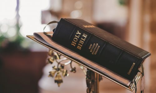 Bible on stand in church Christian Practice